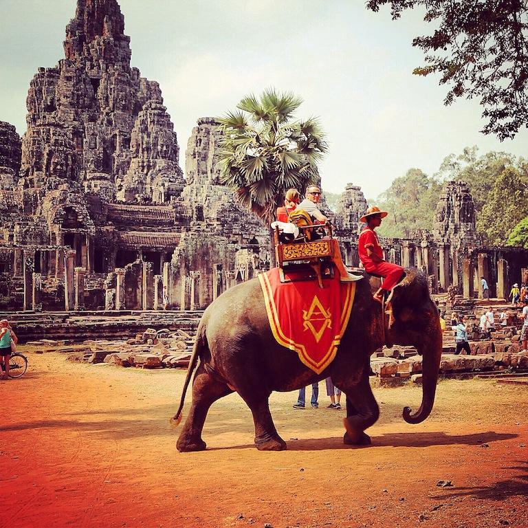 Touristen umrunden den Baron auf Elefanten